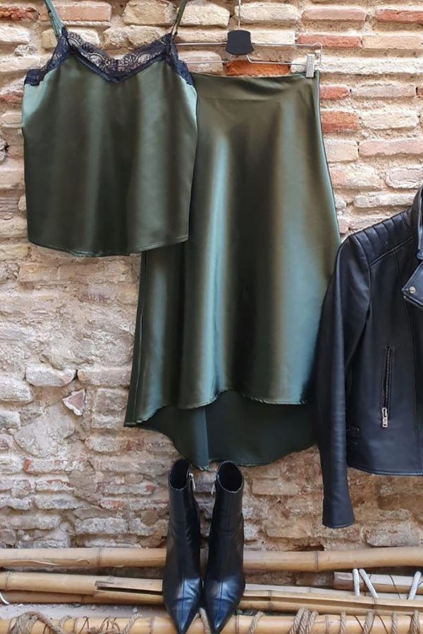Rockmantic Store - Falda Satén Olive